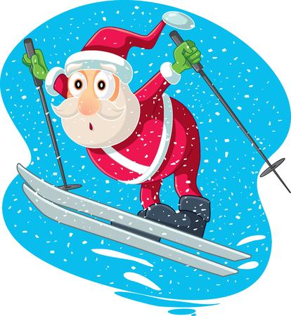Skiing Santa Vector Cartoon
