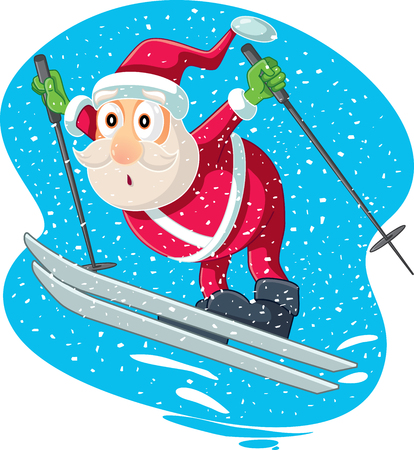 Skiing Santa Vector Cartoon