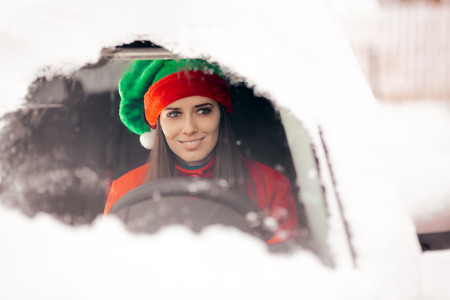 Santa Hat Christmas Girl Driving to Deliver Presents