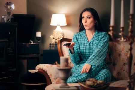 Girl Wearing Pajamas Watching TV in her Room