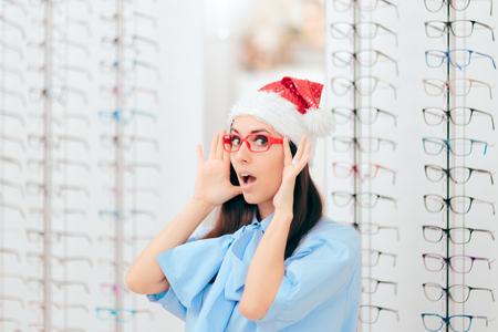 Surprised Christmas Girl in Optical Store on Sale Season