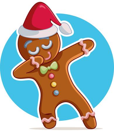 Funny Dabbing Gingerbread Man Vector Cartoon