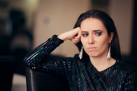 Sad Bored Glamorous Woman Having No Fun at Party