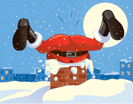 Funny Santa Claus Stuck in the Chimney Cartoon