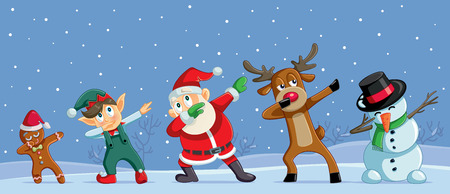 Dabbing Christmas Cartoon Characters Funny Banner Reklamní fotografie - 112461276