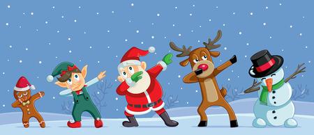 Tupfende Weihnachtszeichentrickfiguren lustiges Banner Vektorgrafik