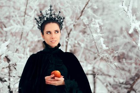 Evil Queen with Poisoned Apple in Winter Wonderland