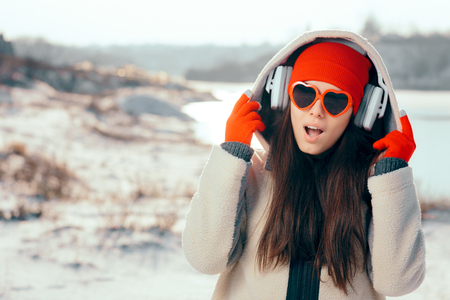 Funny Girl with Heart Shaped Sunglasses Listening to Music