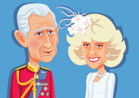 London, UK, 9 December 2018, Prince Charles and Camilla Parker Bowles Vector Caricature