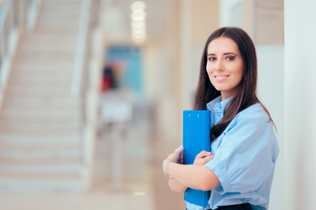 Professional Woman Holding Folder in Office Building