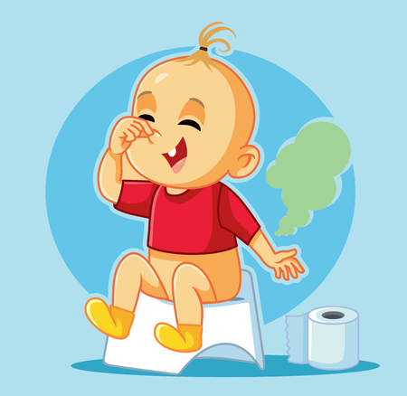Funny Baby Sitting on the Potty Vector Cartoon Çizim