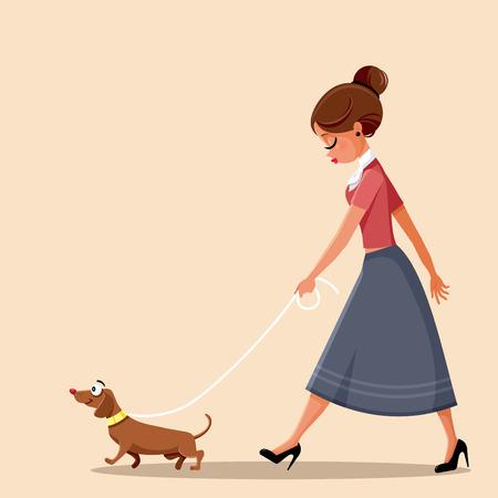 Woman Walking Dog Vector Illustration