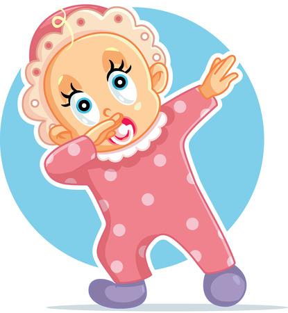 Funny Baby Girl Dabbing Vector Cartoon
