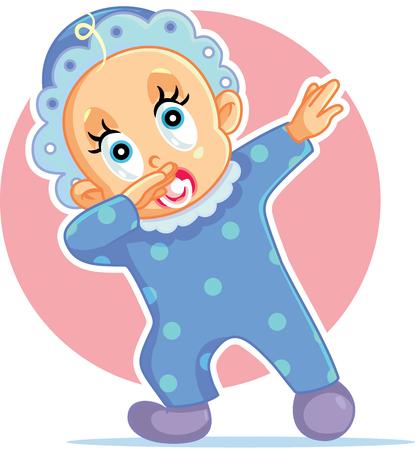 Funny Baby Boy Dabbing Vector Cartoon