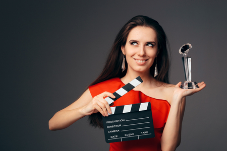 Happy Actress Holding Cinema Clapboard and Special Award