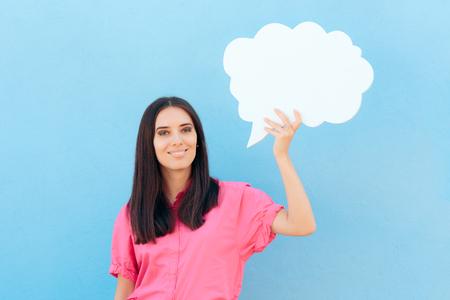 Funny Girl Holding Speech Bubble Imagens