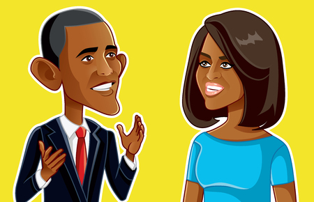 NY, USA, January 24, Barack and Michelle Obama Vector Caricature Editorial