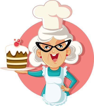Abuela, tenencia, torta, vector, caricatura