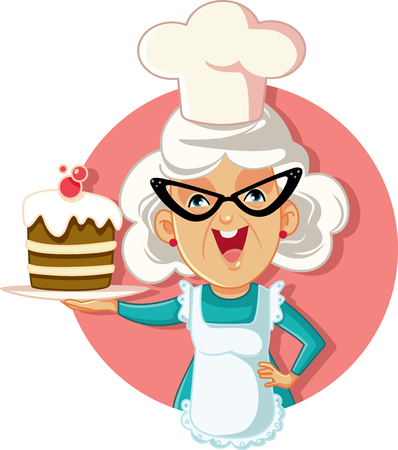 Grandmother Holding Cake Vector Cartoon Illustration