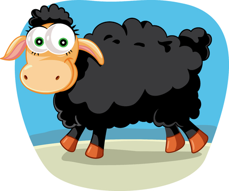 Black Sheep Vector Cartoon Illustration Illustration