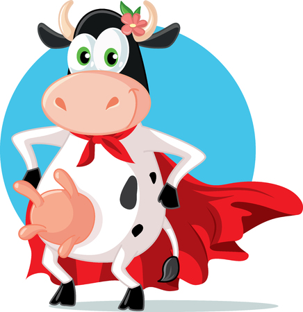 Funny Super Heroine Cow Mascot Cartoon