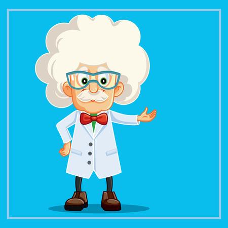 Funny Scientist Professor Cartoon Character Çizim