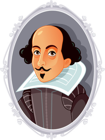 William Shakespeare Vector Caricature Фото со стока - 119148473