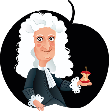Isaac Newton Vector Caricature Illustration