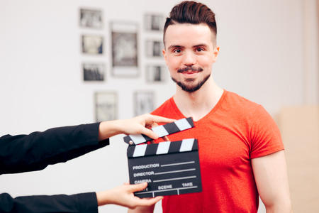 Male Actor at Casting Agency Filming Demo Reel
