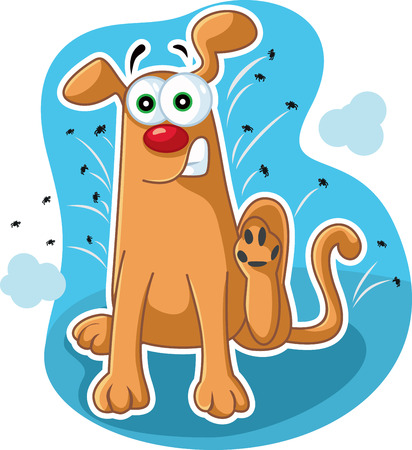 Funny Dog Scratching Fleas Vector Cartoon Illustration