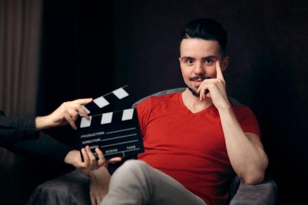 俳優撮影の準備ができて映画シーン