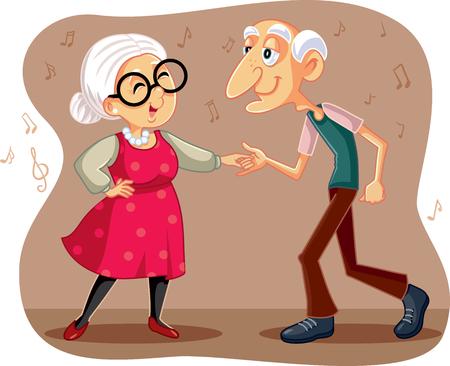 Funny Elderly Couple Dancing Vector Cartoon