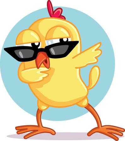 Funny Chick Dabbing Vector Cartoon Illustration