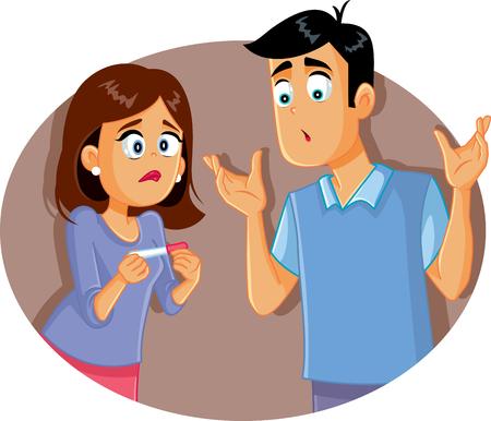 Trauriges, enttäuschtes Paar, das Schwangerschaftstest hält