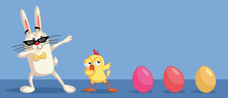 Cute Easter Characters Dabbing Having Fun