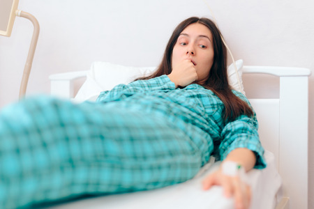 Worried Patient Waiting for Recuperation Resting in Hospital Bed