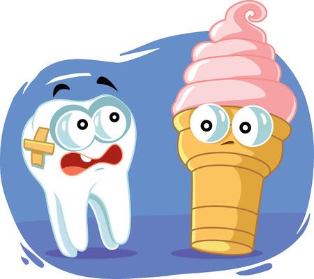 Sensitive Tooth Scared of Cold Ice Cream Vector Cartoon Ilustração