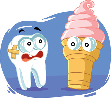 Sensitive Tooth Scared of Cold Ice Cream Vector Cartoon Illustration