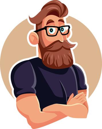 Cool Man Wearing Eyeglasses Vector Cartoon Illustration