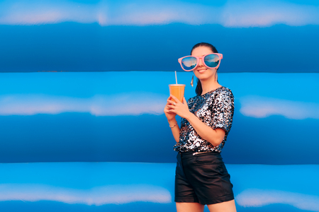 Funny Woman with Big Party Glasses and Soda Drink