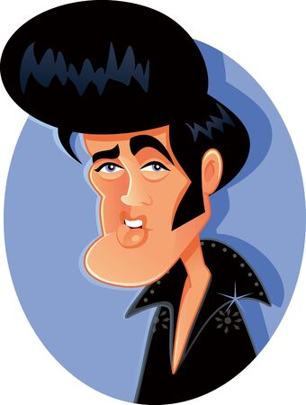 N.Y.,U.S. May 17, 2019, Elvis Presley Vector Caricature