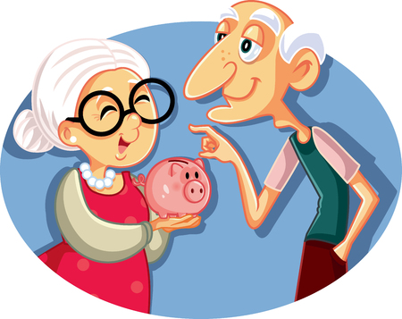 Senior Couple Saving for Retirement Vector Illustration