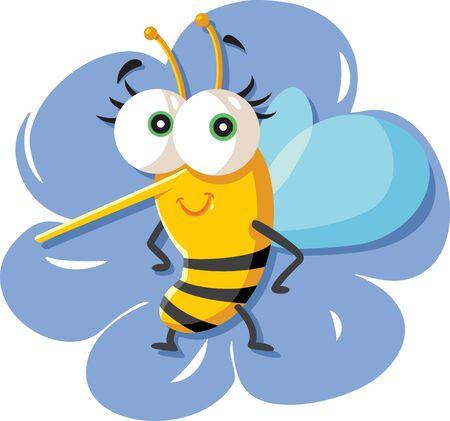 Cute Cartoon Bee Sitting on a Flower