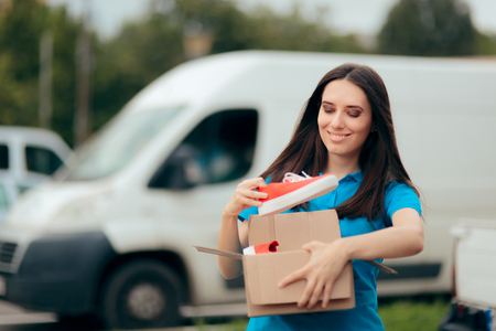 Happy Woman Receiving Sport Shoes Bought Online