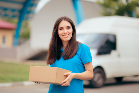 Woman Receiving a Package with Free Shipping Courier Delivery