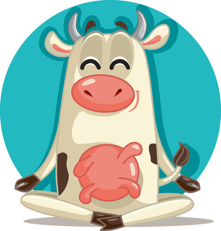 Relaxed Cow in Meditation Pose Vector Cartoon  イラスト・ベクター素材