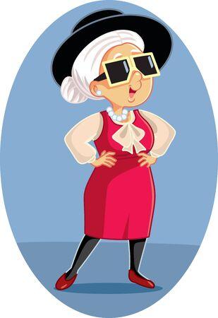 Trendy Stylish Fashion Senior Woman Cartoon Ilustrace