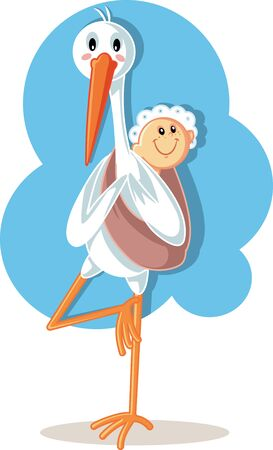 Yoga Stork Carrying Baby Vector Cartoon