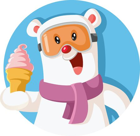 Cartoon Polar Bear Holding Delicious Ice Cream