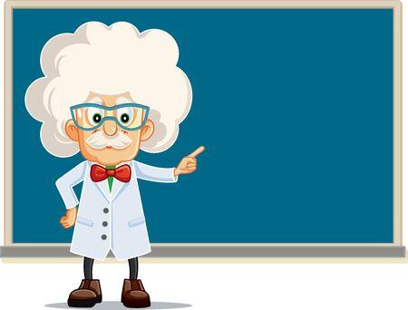 Lustiger Professor, der auf Tafel-Vektor-Cartoon zeigt